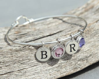 Personalized Grandmother Jewelry, Grandma Gift, Personalized Grandmother Bracelet, Mothers Day Gift for Mom Birthstone Initial