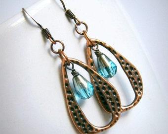 blue drop earrings, beaded earrings, dangle, boho, bohemian, copper jewelry