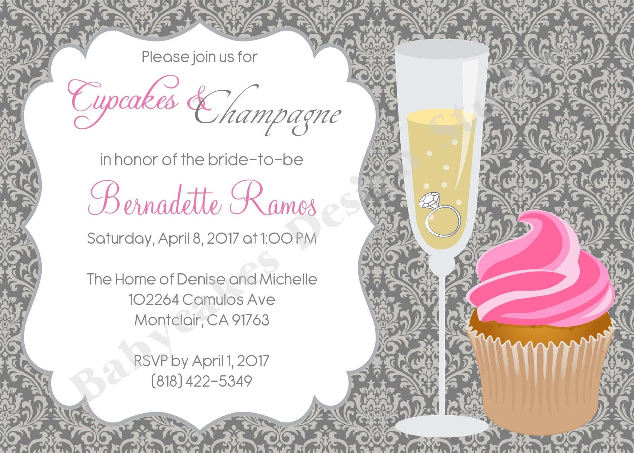 Cupcakes And Champagne Bridal Shower Invitation Bachelorette