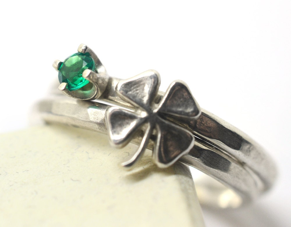 silver clover ring tiny lab emerald ring stacking rings