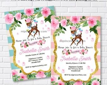 Deer baby shower invitation,  girl baby shower, pink baby shower invitation vintage frame Fawn baby shower or kids birthday - card 205