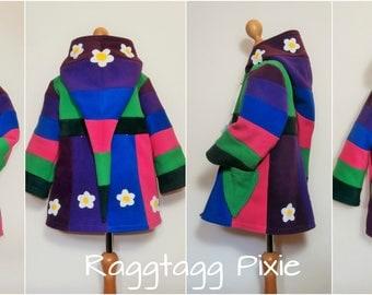 RAINBOW FLOWERS ~Age 4-6 Years~Wizard Jacket, kids, Fleece Hoodie, Pixie, Elf, Fae, Fairy, Festival, Stripey, Hippy, OOAK