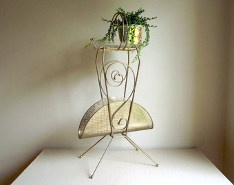 Retro Magazine Rack , Metal Smoking Stand Mid Century Gold Tone Metal Stand , Upcycled Plant Stand , Modern Vintage Decor
