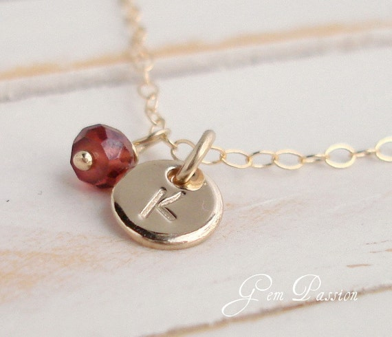 14k Gold Filled Tiny Disc, Personalized, Initial Necklace, Red Garnet Gemstone, Birthstone Necklace, Garnet Necklace, Custom Hand Stamped