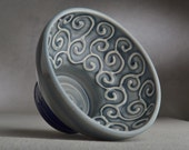 Shaving Bowl Ready To Ship Gray Curls Lather Shave Bowl by Symmetrical Pottery
