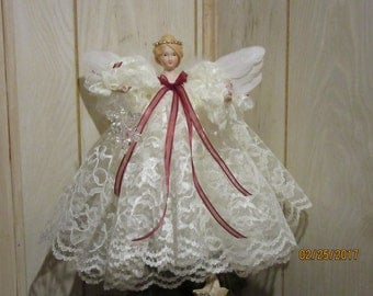 Christmas Angel holding Crystal Snowflake, Porcelain Head and Hands and Lace Gown from Darlas Closet