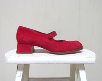 Vintage 1990s Shoes / 90s Charles Jourdan Red Suede Mary Janes / Size 6 US