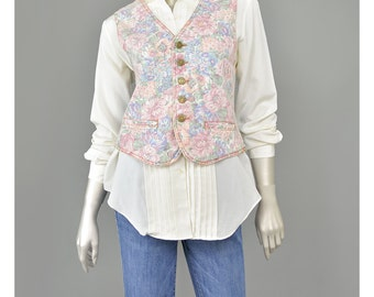 Vintage Vintage 80s Vest Floral Denim Vest Acid Wash Jean Vest 1980s Pretty in Pink and Blue Pastel Print Floral Vest Button Up Vest