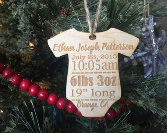 Baby's First Christmas Tree Ornament Decoration Onesie Wood Baby Shower Gift Engraved Personalized Present Housewarming Teacher Husband Wife