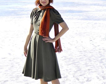 30s style gray wool swing dress with buttons and puffed sleeves, size US 4 / vintage reproduction / wool dress