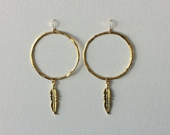 Gold Hoop Feather Earrings, Gold Feather Earrings, Gold Circle Earrings, Feather Earrings, Gold Dangle Earring with Feather, Indira Boheme