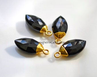 Black Onyx Gold Dipped Marquis Pendant, Black Onyx Pendant, Gold Dipped Pendant  20x8mm