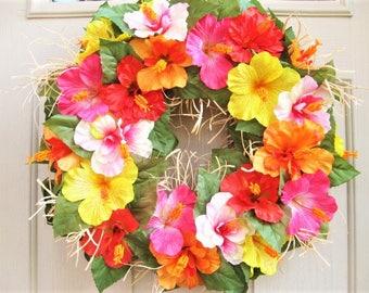 Summer Wreath, Hawaiian Luau Wreath, Hawaiian Party, Orange Yellow Pink Red Hibiscus Wreath, Tropical Party Decoration, Beach Wedding Decor