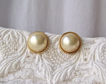 Vintage 14K Gold Post Earrings 925 Pearl Dome Gold Vermeil 1960s