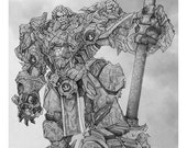 Reinhardt Giclee print of pencil drawing of Tank character from the video game Overwatch