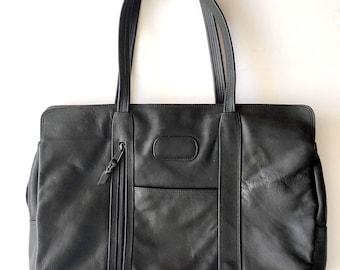 Vintage Black Leather Computer Bag Briefcase Messenger Bag