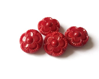 4 Red Flower Vintage Glass Shank Buttons, 18mm