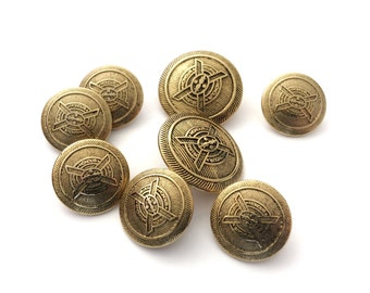 8 Antique Gold Coat of Arms Metal Buttons