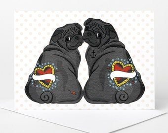 Black Pug Love Card - personalise names (pug wedding card, pug engagement card, pug anniversary card, custom pug boyfriend girlfriend card)