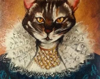 "Original acrylic painting, Victorian Cat Portrait "" Prince Fuzzle Bottoms"" by New Orleans artist Kristof Corvinus"