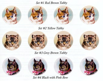 Cat Stickers | Envelope Seals | Tabbies and Tuxedo | Set of 8 Indv or 20 1.5 inch Seals | Set No. 2
