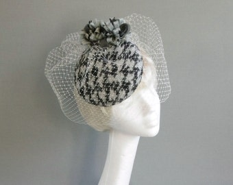 Dutch design grey and off white houndstooth hat with two included but optional birdcage veilings on comb