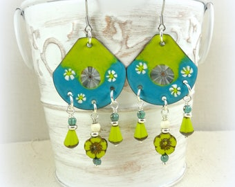 Turquoise and Lime Green Artisan Enamel Charm Earrings - Chandelier Earrings, Green Earrings, Blue Earrings, Turquoise Earrings, Kiwi Green