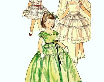 Girls Dress Pattern, size 6 Evening Dress Pattern Party Dress Pattern Flower Girl Dress Pattern 1950s Simplicity 4135 Vintage Sewing Pattern