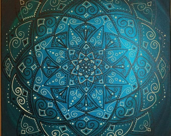 Brown and Cream Mandala on Dark Teal Blue