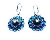 Blue Earrings, Deep Blue Earrings, Cobalt Blue Earrings, Small Blue Earrings, Round Blue Earrings, Blue Round Earrings, Blue Resin Earrings,