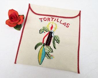 Vintage Tortilla Warmer, Tortilla Basket, Embroidered Pouch, Fabric Envelope, Kitchen Storage