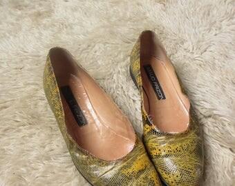 80's Vintage Maud Frizon Yellow Snakeskin Flats 6.5