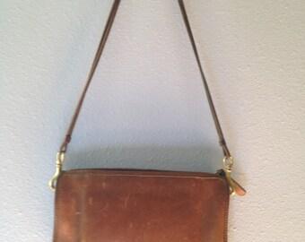 Women's Tan Coach Handbag, 1970's made in New York USA, Vintage Coach Purse