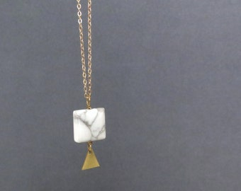 Geomatics MB - Long Gold Geometric Necklace with Marble Howlite and Bright Brass Tiny Geo Triangle Pendant (Collier Triangle) by InfinEight