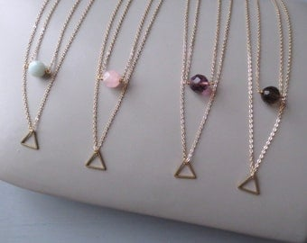 Kew - One Tiny Geo Two Tier Necklace; Gold Geometric Triangle Pendant & Aqua Amazonite, Pink Rose Purple or Brown Smoky Quartz by InfinEight