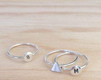 silver initial rings / round ring / custom letter ring / stacking rings