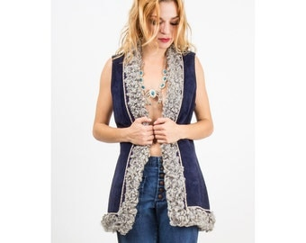 Vintage suede and lamb vest / 1960s curly lamb gillet / Long tunic style S