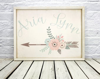 Shabby Chic, Custom Name Sign, Arrow Sign, Personalized Sign, Shabby Chic Sign, Wood sign, Nursery Decor, Flowers, Family Name Sign