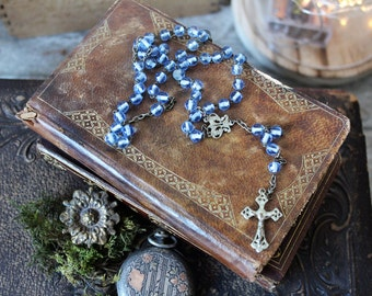 French antiques blue rosary chapelet 1900s chaplet cross religious catholic protection prayer shabby chic