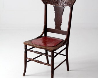 antique fiddle back chair, press back wood chair