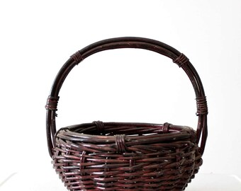 vintage handle basket, burgundy gathering basket,