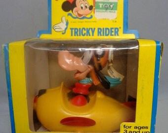 DISNEY TRICKY RIDER,Goofy,298, String Powered, Vintage Childs Toy, Walt Disney Productions,  Kohner Bros,Mickey Mouse Club, Push & Pull