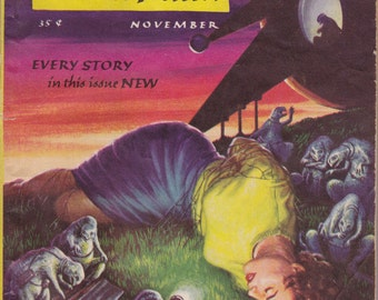 Joy In Mudville- 1950s Vintage Magazine- Fantasy Science Fiction- November 1955- Emsh Cover Art- Poul Anderson- Issac Asimov- Paper Ephemera