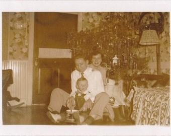 Little Drummer Boy- 1940s Vintage Photograph- Christmas Tree- Tinsel and Ornaments- Sepia Snapshot- Found Photo- Paper Ephemera