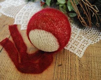 Mohair Newborn Prop Bonnet with Wide Ties, Newborn Bonnet Newborn Photo Prop Bonnet Baby Christmas Valentines Newborn Bonnet, Newborn Size