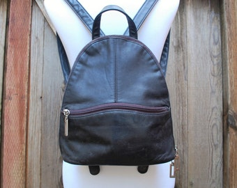 Vintage Leather First Edition Small Black Backpack Ruck Sack Daypack Pouch Organizer Id Holder Wallet Boho Hobo Bag Fashion Moto 90s 80s Mod