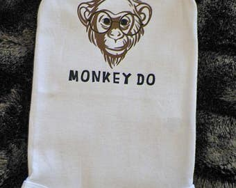 Infant unisex creeper, bodysuit, onesie, Monkey face with glasses on, Monkey See, Monkey Do, boy, girl, 6- 12 month, short sleeves