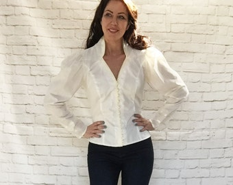 Vintage 70s Gunne Sax Mutton Sleeve Princess Blouse Top M L Medieval High Collar Lace Trim