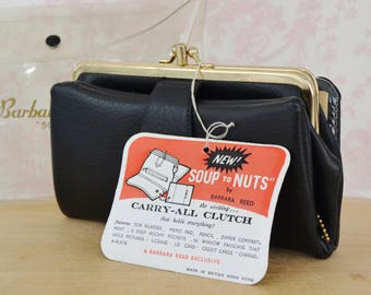 Vintage 1960s Barbara Reed Black Carry-All Clutch Wallet Made in British Hong Kong