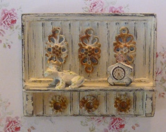Shabby Chic Country Wall Shelf for Dollhouse